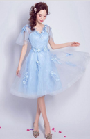 Elegant Blue Knee Length Tulle Homecoming Dress Flowy A-line V-neck With Flowers cg827