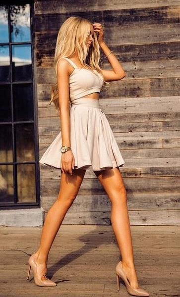 Simple Two Pieces A Line Homecoming Dress Short homecoming dress cg82