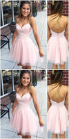 Sweetheart Spaghetti Straps Pink Homecoming dress cg83