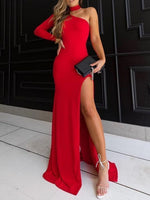 Charming Sheath Halter High Split Black /Red Elastic Satin Long Prom Dresses, Sexy Evening Party Dresses cg831