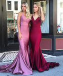 Burgundy Mermaid Prom Dress Long Spaghetti Straps Sweep Train Formal Evening Dresses Long Women Party Gowns  cg8328