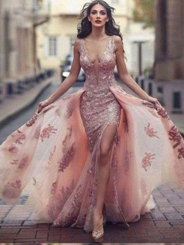 A-Line Round Neck Sweep Train Pink Tulle Prom Dress with Lace Appliques cg837