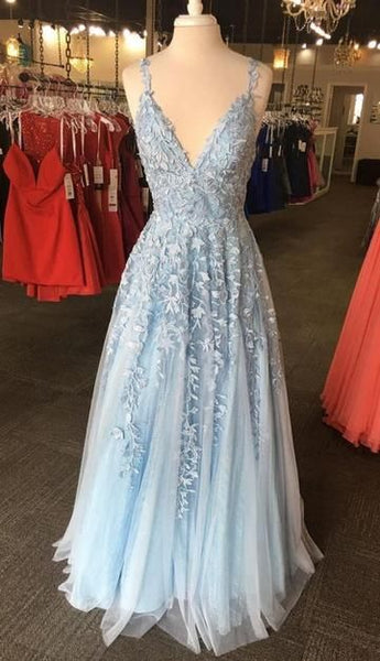 Light Blue Lace Prom Dress 2020, Evening Dress, Formal Dress, Graduation School Party Gown  cg8381