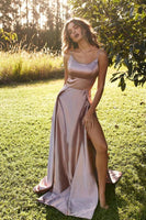 Unique Spaghetti Strap Split Prom Dress, Sexy Sleeveless Simple Party Dresses cg840