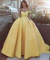 Elegant beautiful off the shoulder flower Ball Gown Prom Dress Appliques Lace Satin Prom Gowns cg843