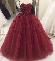 Strapless Burgundy Tulle Ball Gown Prom Dress, Formal Evening Dress, Women Dress  cg845
