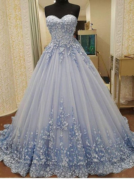 Gorgeous Ball Gown Sweetheart Light Blue Lace Long Prom Dresses with Appliques, Luxurious Quinceanera Dresses cg848