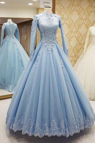 Blue tulle high neck customize formal evening dress with long sleeves cg849