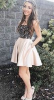 Champagne sweetheart beads short dress, champagne homecoming dress cg851