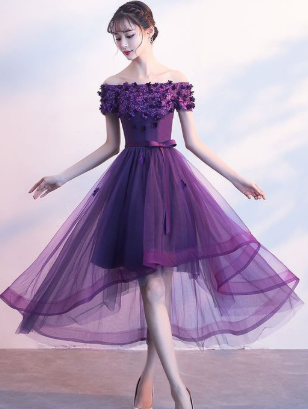 Cute purple lace appliqued dress, short dress for homecoming cg858