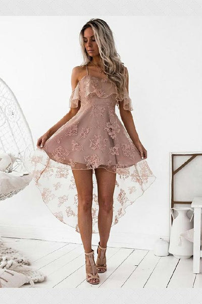 Fancy Lace Party Dress A-Line Spaghetti Straps High Low Blush Lace Homecoming Dress With Ruffles cg85