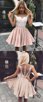 Cute pink lace short dress, pink homecoming dress, pink lace formal dress cg86