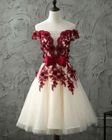 Burgundy lace tulle short dress, burgundy lace homecoming dress cg865