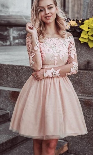 Short Lace Long Sleeves Off Shoulder Homecoming Dresses cg867