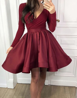 Long Sleeves Satin Ruffles Homecoming Dresses cg868