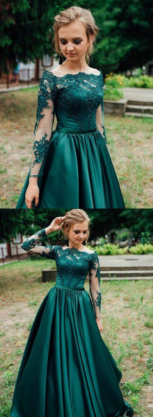 Green Satin Long Sleeve Lace Prom Dress, Green Lace Formal Dress  cg8749