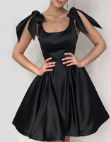 Elegant Black Bow Shoulders Ruffles Satin Homecoming Dresses cg874