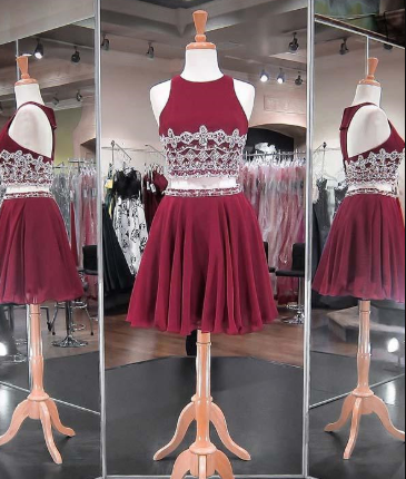 Two Piece Homecoming Dresses Beadings Chiffon Skirt Fashion Style Short party Gowns cg878