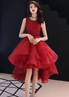 Cute A line round neck tulle short  dress, homecoming dress cg881