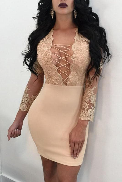 Lace Up Hollow Out Transparent Embroidery Short Bodycon homecoming Dress cg893