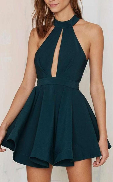 short dress, A-Line homecoming dress, round neck party dress, dark green cocktail dress cg898