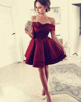 Burgundy Off-the-Shoulder Satin Homecoming Dresses cg89