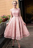 Pink Lace Homecoming Dress, Appliques Homecoming Dress, A-line Formal Dress cg901