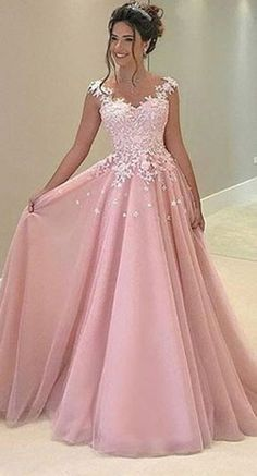 A-Line Pink Appliques Prom Dress, Long Prom Dress, Charming Prom Dress, Chiffon Evening Dress cg909