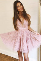 Pink Homecoming Dresses,V-Neck Homecoming Dress,Lace Homecoming Dress cg90