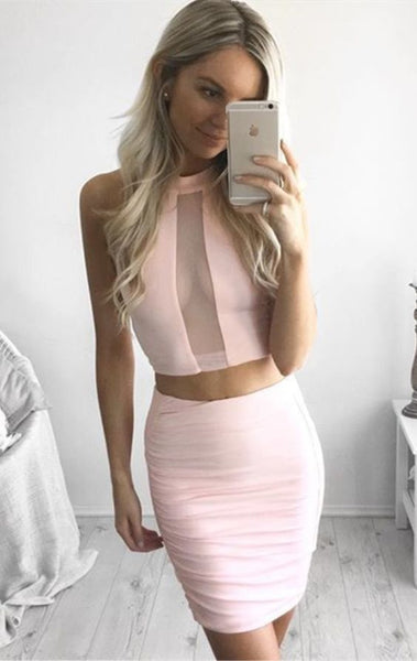 Two Piece Jewel Short Pink Homecoming Cocktail Dress cg915