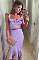Two piece mermaid purple party homecoming dress cg918