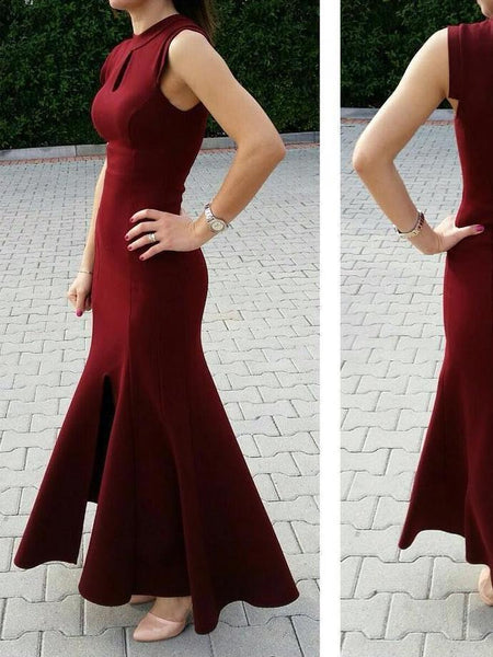 Chic Burgundy Prom Dresses Scoop Sheath/Column Ankle-length Prom Dress/Evening Dress  cg9208