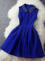 Blue dress with beaded collar homecoming dress cg924