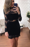 Black Lace Sheath Long Sleeve See Through Homecoming Dresses cg925