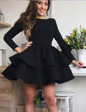 Simple Black Satin Layered Homecoming Dress with Long Sleeves cg929