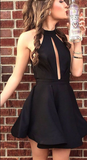 Chic Black Satin Sleeveless A line Knee Length Homecoming Dress cg930