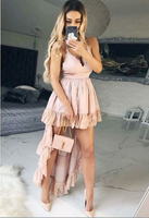 A-Line Spaghetti Straps High Low Blush Homecoming Dress with Lace cg932