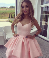 A-Line V-Neck Short Pink Satin Homecoming Dress cg933