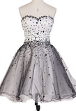 Beautiful Charming Short White Homecoming Dresses With Beaded/Beading Lace Up Mini Appealing Homecoming Dresses cg937