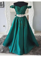 Green Off Shoulder A Line Evening Dresses Long Prom Dresses With Lace Appliques cg942
