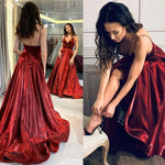 Burgundy Prom Dress,Satin Prom Gown,A-Line Evening Dress,V-Neck Prom Gown   cg9435