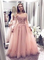 Pink Off The Shoulder Long Sleeve Long Cheap Tulle Prom Dresses With Applique cg945