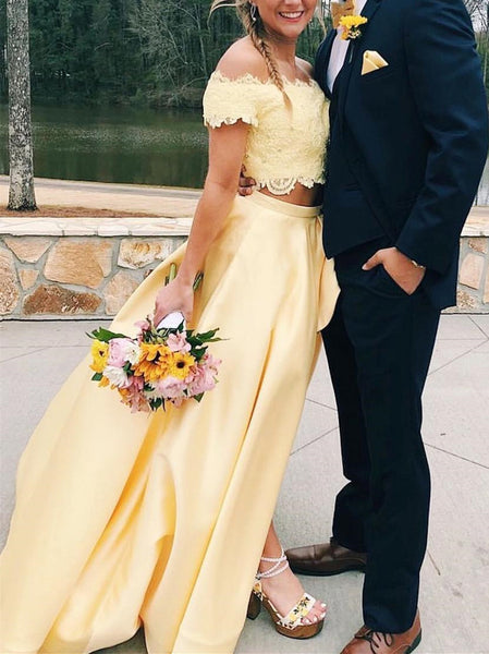 Two Pieces Light Yellow Lace Bead Prom Dress,Long A-Line Party Dress with Side Slit  cg947