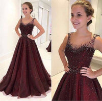 2019 Sparkly Burgundy Round Neck Tulle Beads Long Prom,Evening Dress cg950