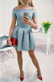 Dusty Blue Off Shoulder Lace Homecoming Dresses cg952