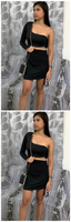 Black One Shoulder Cut Out Mini Dress , homecoming dress  cg953