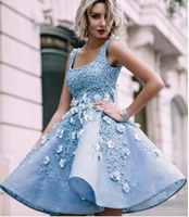 Sky Blue Beaded Appliques Handmade Flowers Stunning Homecoming Dresses cg954