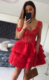 Red Lace V-neck Straps Short Homecoming Dresses cg960