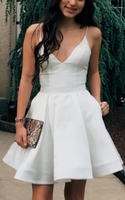 A-Line Spaghetti Straps Above-Knee White Homecoming Dress with Pockets cg963
