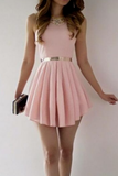 Simple A-Line Scoop Sleeveless Satin Pink Short Homecoming Dress With Pleats cg966